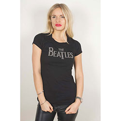 The Beatles Ladies Fashion Tee: Drop T Logo with Rhinestone Application