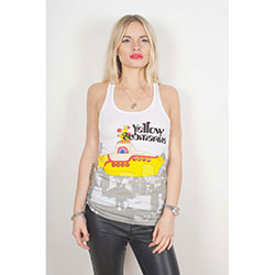 The Beatles Ladies Vest Tee: Yellow Submarine & Brollies