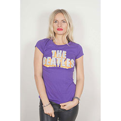 The Beatles Ladies Fashion Tee: 3D Logo with Rhinestone Application