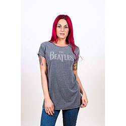 The Beatles Ladies Fashion Tee: Drop T Logo with Burn Out Finishing and Caviar Bead Application