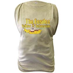 The Beatles Ladies Fashion Tee: Yellow Submarine with Oil Washed Finishing & Discharge Printing
