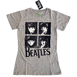 The Beatles Ladies Premium Tee: Framed Faces with Foiled Application