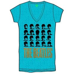 The Beatles Ladies Fashion Tee: Hard Days Night Faces with Burn Out Finishing and Glitter Print Application