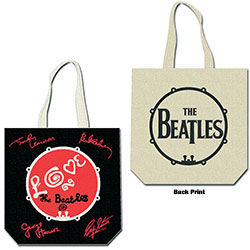 The Beatles Cotton Tote Bag: Love Drum (with zip top)