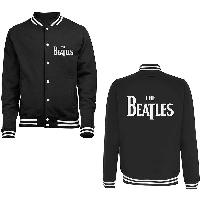 The Beatles Men's Varsity Jacket: Drop T Logo (Back Print)