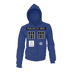 Doctor Who Unisex Zipped Hoodie: Tardis Doors (Small Only)