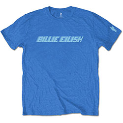 Billie Eilish Unisex Tee: Blue Racer Logo (Sleeve Print)