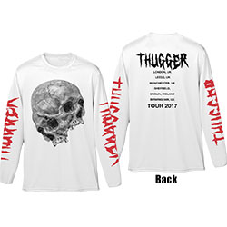Young Thug Unisex Long Sleeved Tee: Thugger Skull (Back & Sleeve Print)