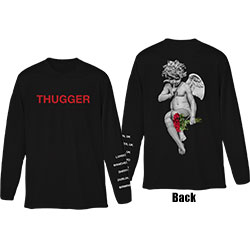 Young Thug Unisex Long Sleeved Tee: Thugger Angel (Back & Sleeve Print)
