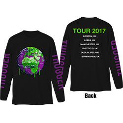Young Thug Unisex Long Sleeved Tee: Thugger Globe (Back & Sleeve Print)