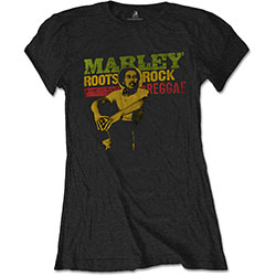Bob Marley Ladies Tee: Roots, Rock, Reggae