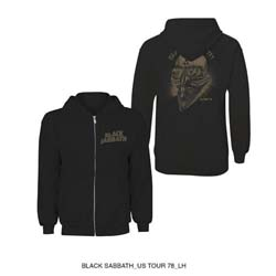 Black Sabbath Unisex Zipped Hoodie: Tour 1978 (Back Print)
