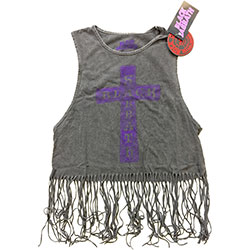 Black Sabbath Ladies Tee Vest: Vintage Cross (Tassels)