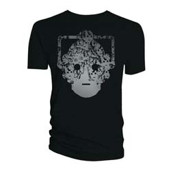 Doctor Who Unisex Tee: Cyberman Faces Head Black & White (Small Only)