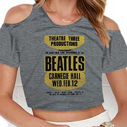 The Beatles Ladies Fashion Tee: Carnegie Hall with Cropped Styling and Cut-outs