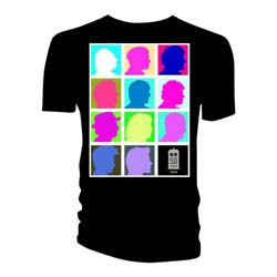 Doctor Who Ladies Tee: Silhouette Grid Multi Black