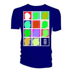 Doctor Who Ladies Tee: Silhouette Grid Multi Blue