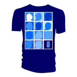 Doctor Who Ladies Tee: Silhouette Grid All Blue