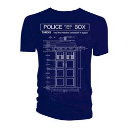 Doctor Who Men's Tee: Tardis Blue-Print  (XX-Large Only)