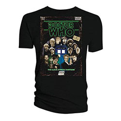Doctor Who Ladies Tee: Retro VHS Cover All Doctors Colour Graded