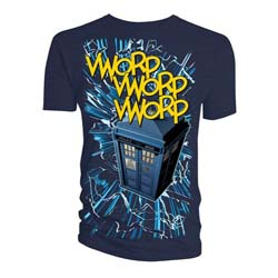 Doctor Who Men's Tee: Comic Tardis Vworp - White Lines (X-Large Only)