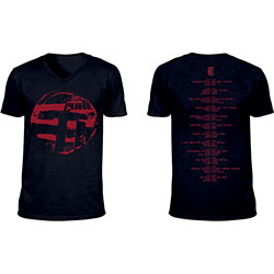 The Cure Unisex Tee: Eastern Red Logo (Ex-Tour/V-Neck & Back Print)