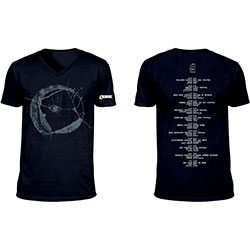 The Cure Unisex Tee: Eyemoon Logo (Ex-Tour/V-Neck & Back Print)