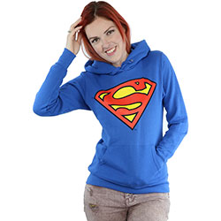 DC Comics Ladies Pullover Hoodie: Superman Logo (X-Small)