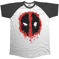 Marvel Comics Unisex Raglan Tee: Deadpool Splat Icon