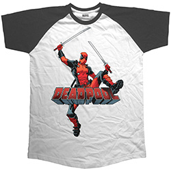 Marvel Comics Men's Raglan Tee: Deadpool Logo Jump