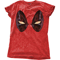 Marvel Comics Ladies Fashion Tee: Deadpool Eyes with Snow Wash Finishing