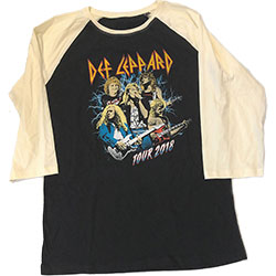 Def Leppard Unisex Raglan Tee: 2018 Tour Photo (Ex. Tour)