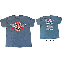 Def Leppard Unisex Tee: 2018 Tour Union Jack (Ex. Tour/Back Print) (Large)
