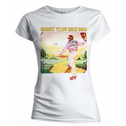 Elton John Ladies Tee: Goodbye Yellow Brick Road Album