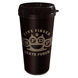 Five Finger Death Punch Travel Mug: Brass Knuckle with Plastic Body
