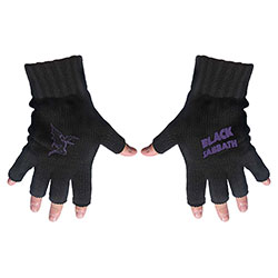 Black Sabbath Unisex Fingerless Gloves: Purple Logo & Devil