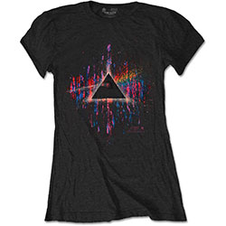 Pink Floyd Ladies Tee: Dark Side of the Moon Pink Splatter