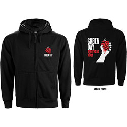 Green Day Unisex Zipped Hoodie: American Idiot (Back Print)