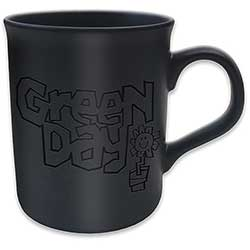 Green Day Boxed Matt Mug: Flower Pot (Black on Black Matt)