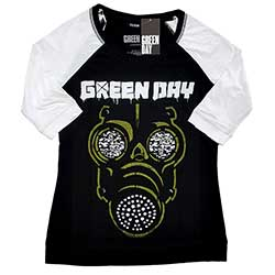 Green Day Ladies Raglan Tee: Green Mask