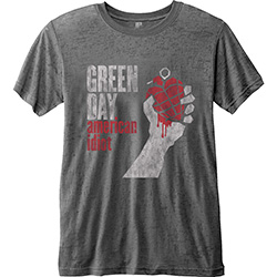 Green Day Men's Fashion Tee: American Idiot Vintage with Burn Out Finishing