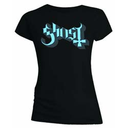 Ghost Ladies Tee: Blue/Grey Keyline Logo with Skinny Fitting