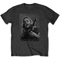 David Gilmour Unisex Tee: On Microphone Half-tone