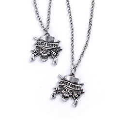 Guns N' Roses Necklace & Bracelet Set: Skull
