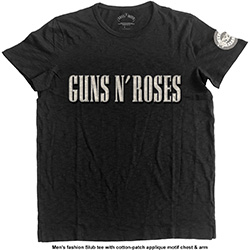 Guns N' Roses Men's Fashion Tee: Logo & Bullet Circle (Applique Motifs)