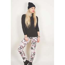 Guns N' Roses Ladies Fashion Leggings: Skull & Roses