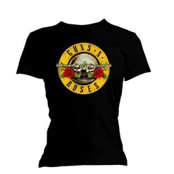 Guns N' Roses Ladies Tee: Classic Bullet Logo with Skinny Fitting