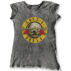 Guns N' Roses Ladies Fashion Tee: Classic Logo (Acid Wash Finish)
