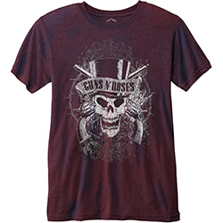 Guns N' Roses Unisex Fashion Tee: Faded Skull with Burn Out Finishing