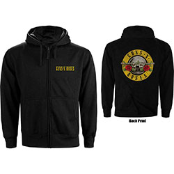 Guns N' Roses Ladies Zipped Hoodie: Classic Logo (Back Print)